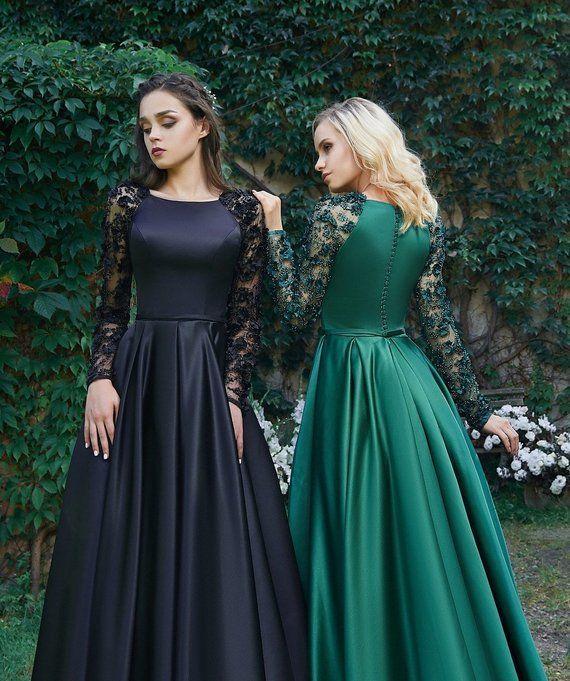 Schwarzes Brautkleid Langarmkleid Abendkleid Langes ...