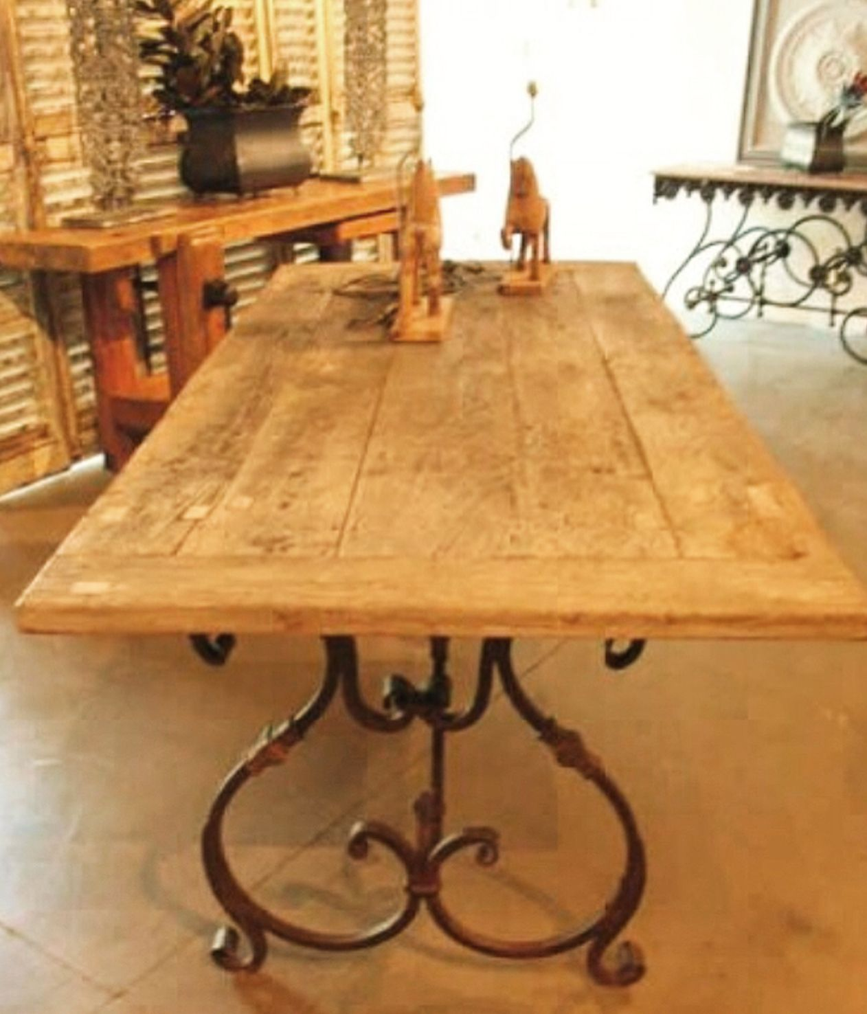 French Scroll Based Table With A Recycled Teak Top Sallyberesford Frenchfarmhouse Aut Wrought Iron Patio Table Iron Patio Furniture Wrought Iron Table Legs