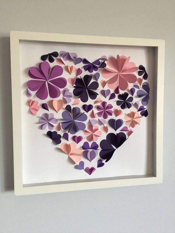 Pétalo flor de corazón arte de papel 3D 12 x 12 | Flores | Pinterest ...