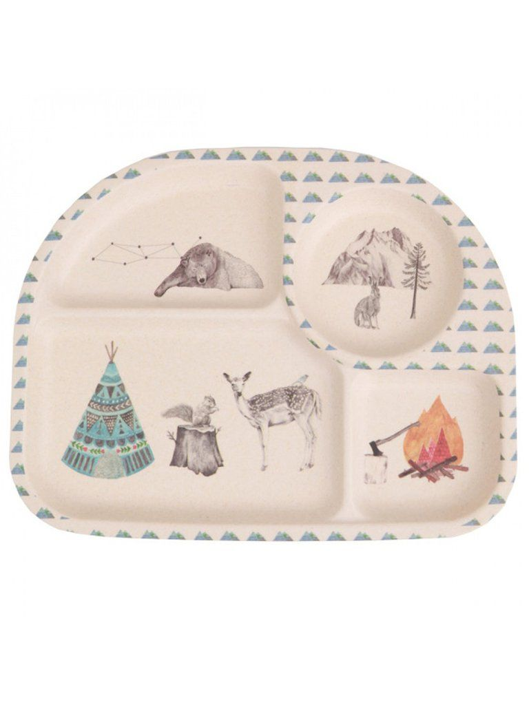 Forest Feast 5 Piece Bamboo Childrens Dinner Set Bamboo Plate Kids Dinnerware Kids Plates Biodegradable Products