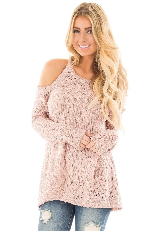 9a9e4be7be356 Lime Lush Boutique - Dusty Rose Cold Shoulder Sweater with Lace Up Back  Detail