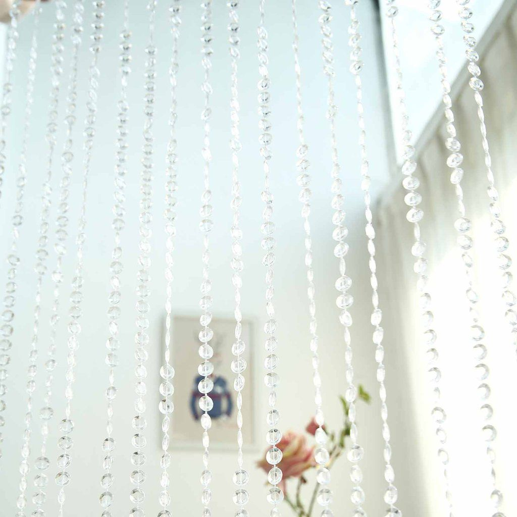 8ft Crystal Diamond Beaded Curtain With Bendable Plastic