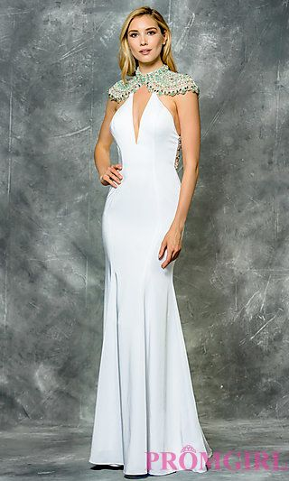 3a2164c0c1b Long Mock Neck Prom Dress with Cap Sleeves at PromGirl.com