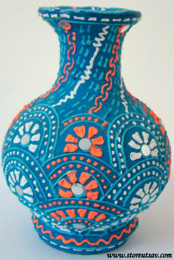 Home Decor Clay Vase Handmade Indian Handicraft Brush Holder Blue