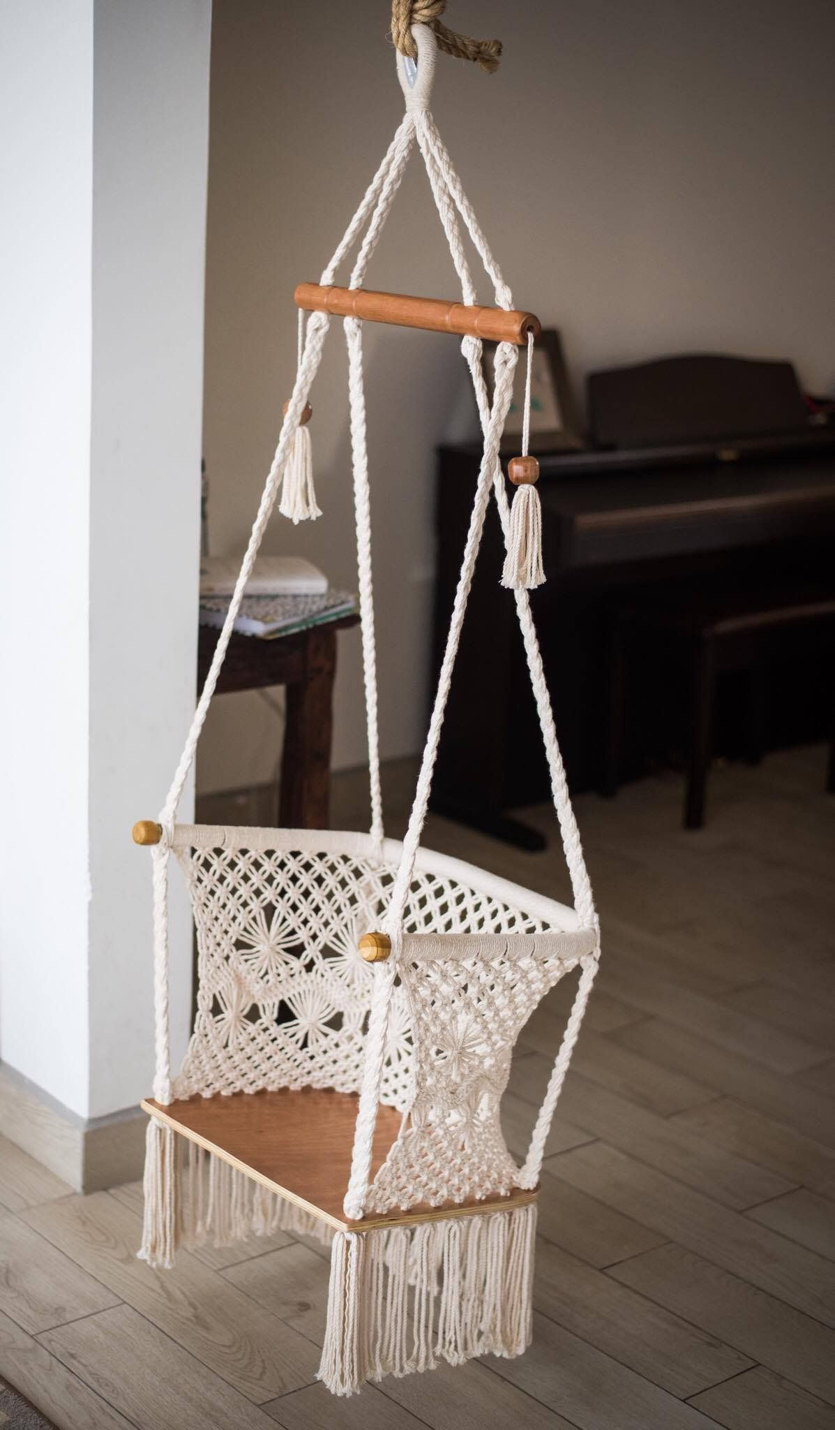 Macrame Hammock Swing Chair With Wood Bottom Handmade in