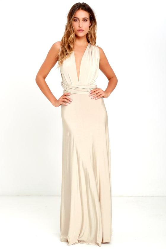 Always Stunning Convertible Beige Maxi Dress Beige Maxi Dresses Taupe Maxi Dress Maxi Dress