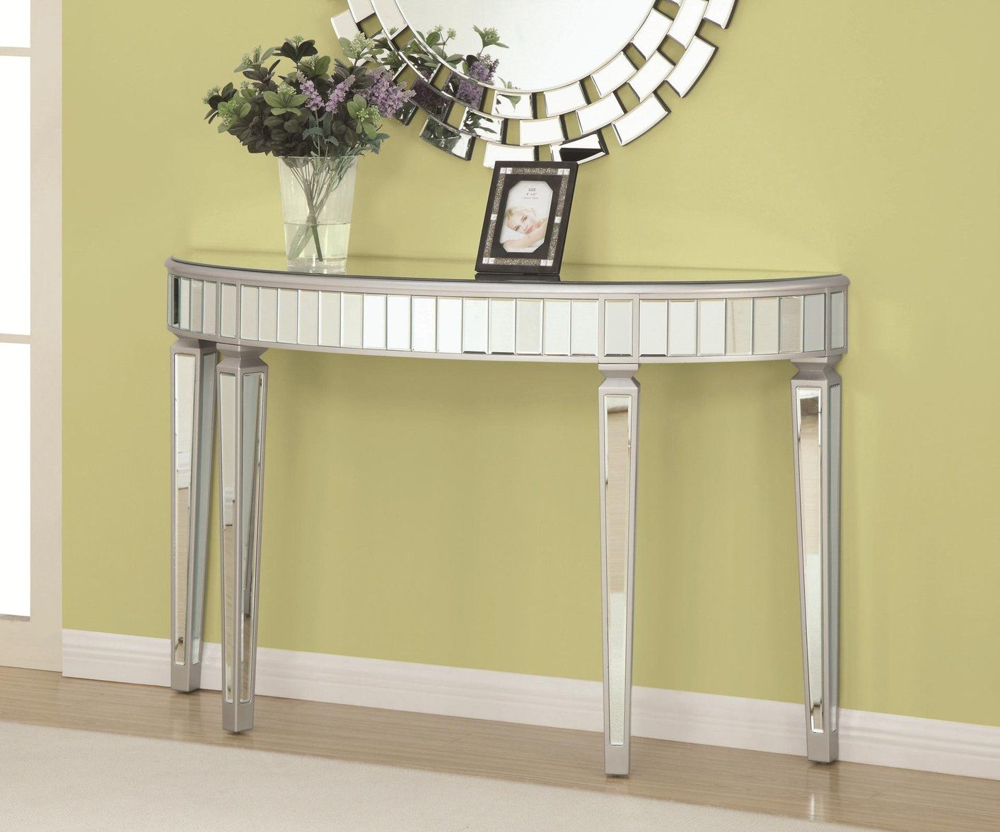 Silver And Gl Console Table