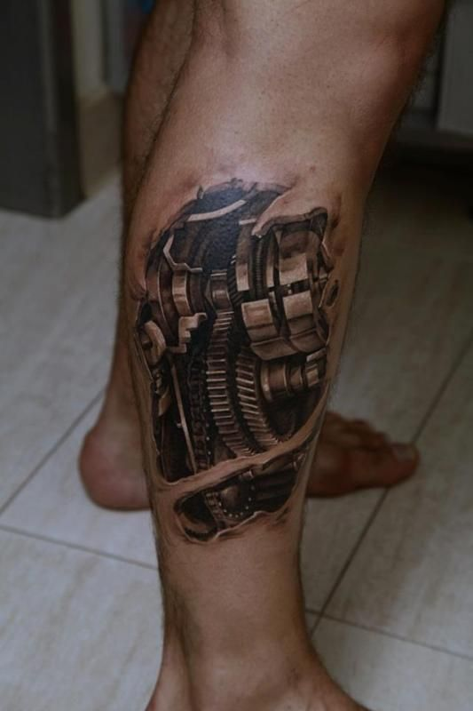 Latest Biomechanical Tattoos Biomechanical Tattoo Leg Tattoos Calf Tattoo