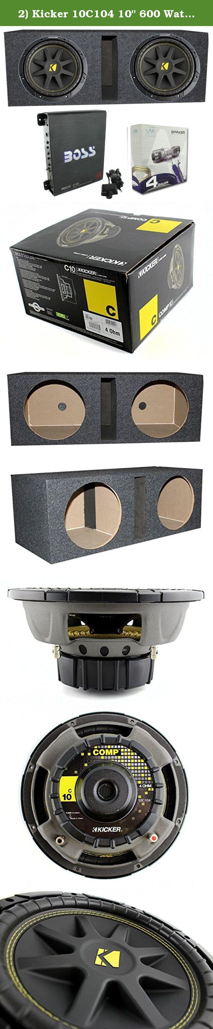 2 Kicker 10c104 10 600 Watt Car Subwoofers Box 1100w A Wiring Kits For Subs Amplifier