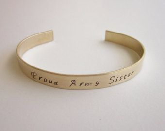 eeaad85f8a6 Personalized Brass Cuff Bracelet Army Sister Bracelet Proud Navy Sisters Jewelry  Gift for Navy Lover Join Marine Corps Military Siblings-B94