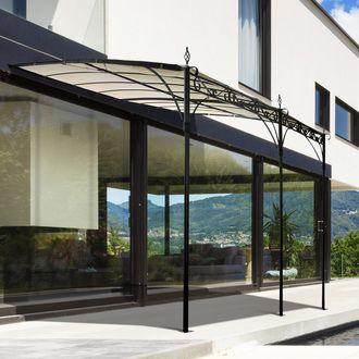 Tonnelle adoss e rectangulaire toit ajustable acier polyester 285x400cm soline - Pergola metal adossee ...