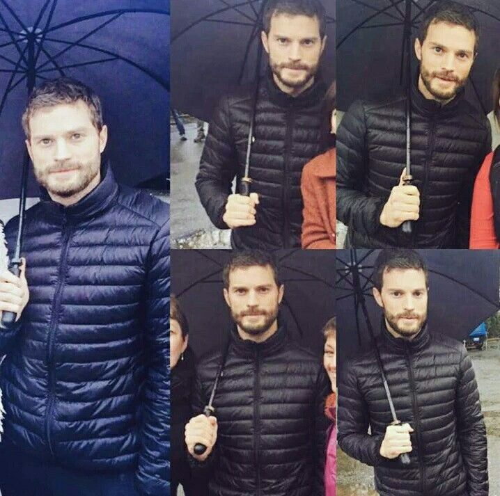 Jamie Dornan and fans on set of The Fall 3 - 12th January 2016