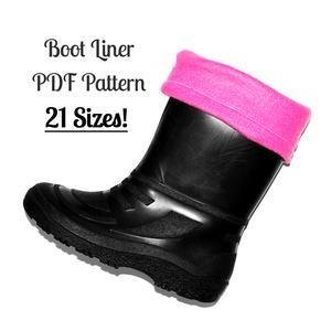 women boot liner pattern. Also kids sizes. Great for turning rain boots into winter boots. Quick and easy tutorial!