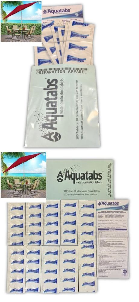 Purification Tablets 181406: Water Purification Aquatabs 100 Pack Tablets  Treats Up To 200 Quarts Of