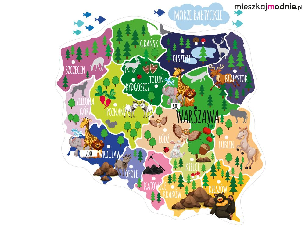 Mapa Polski Dla Dzieci Kolorowa Naklejka Edukacyjna Na Sciane Trunks Hobby Poland