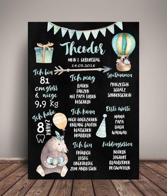Meilensteintafel 1 Geburtstag Boho Chalkboard Geburtstagsposter