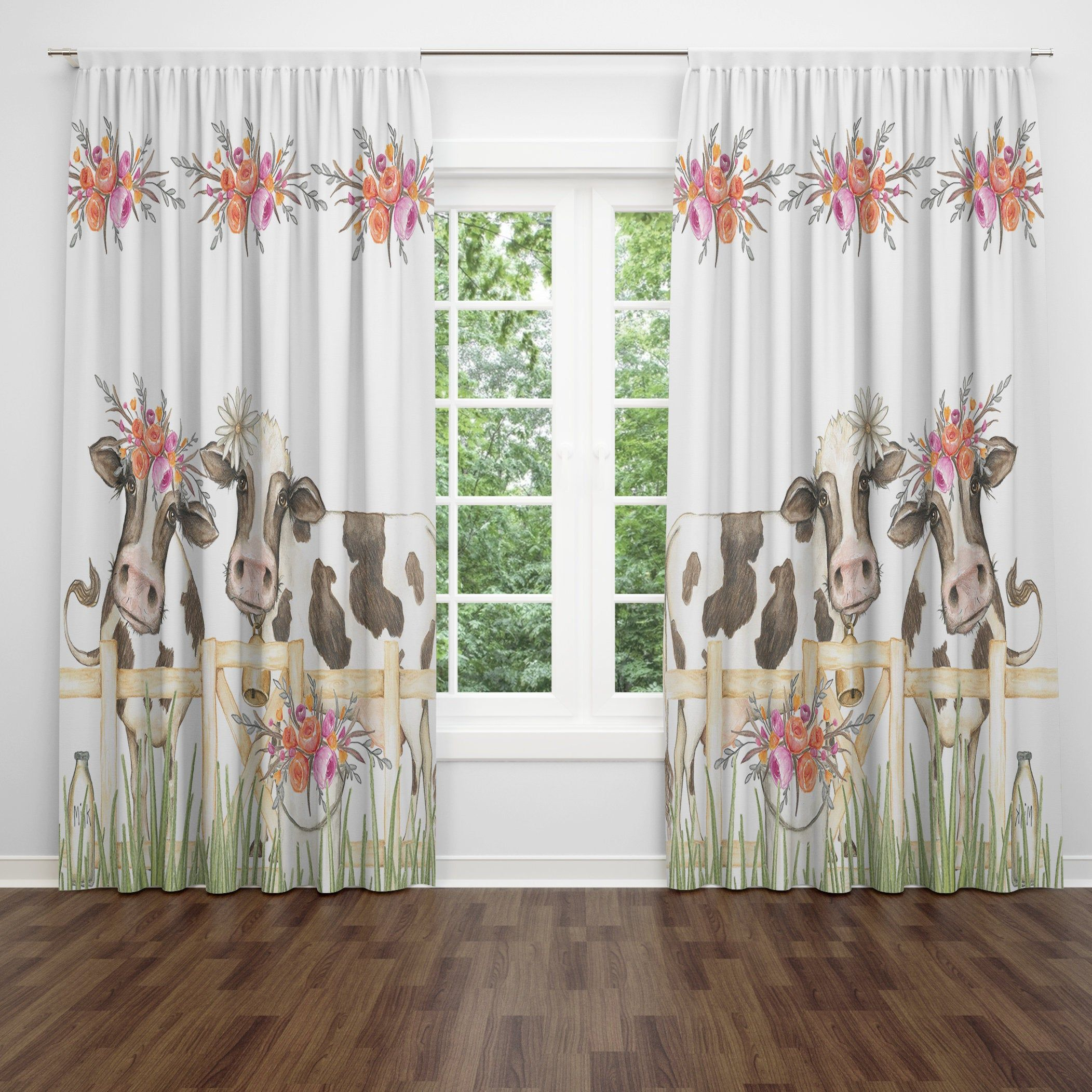 Cow window curtains farmhouse valance in 2020 vintage