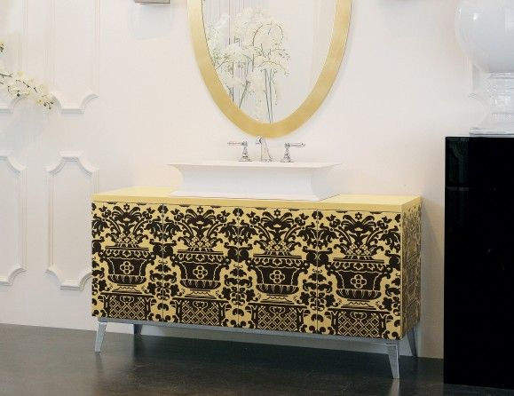 Hermitage H13 Luxury Italian Bathroom Vanity In Gold Leaf Italian Bathroom Gold Ornate Mirror Vanity