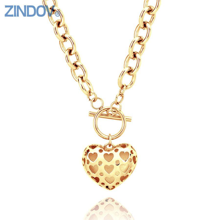 Zindov heart necklace stainless steel women gold necklaces pendants zindov heart necklace stainless steel women gold necklaces pendants rose gold big fashion brand statement jewelry aloadofball Gallery