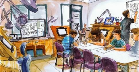 Illustration in Urban Sketching by Thomas Thorspecken, one of our instructors at Elite Animation Academy.