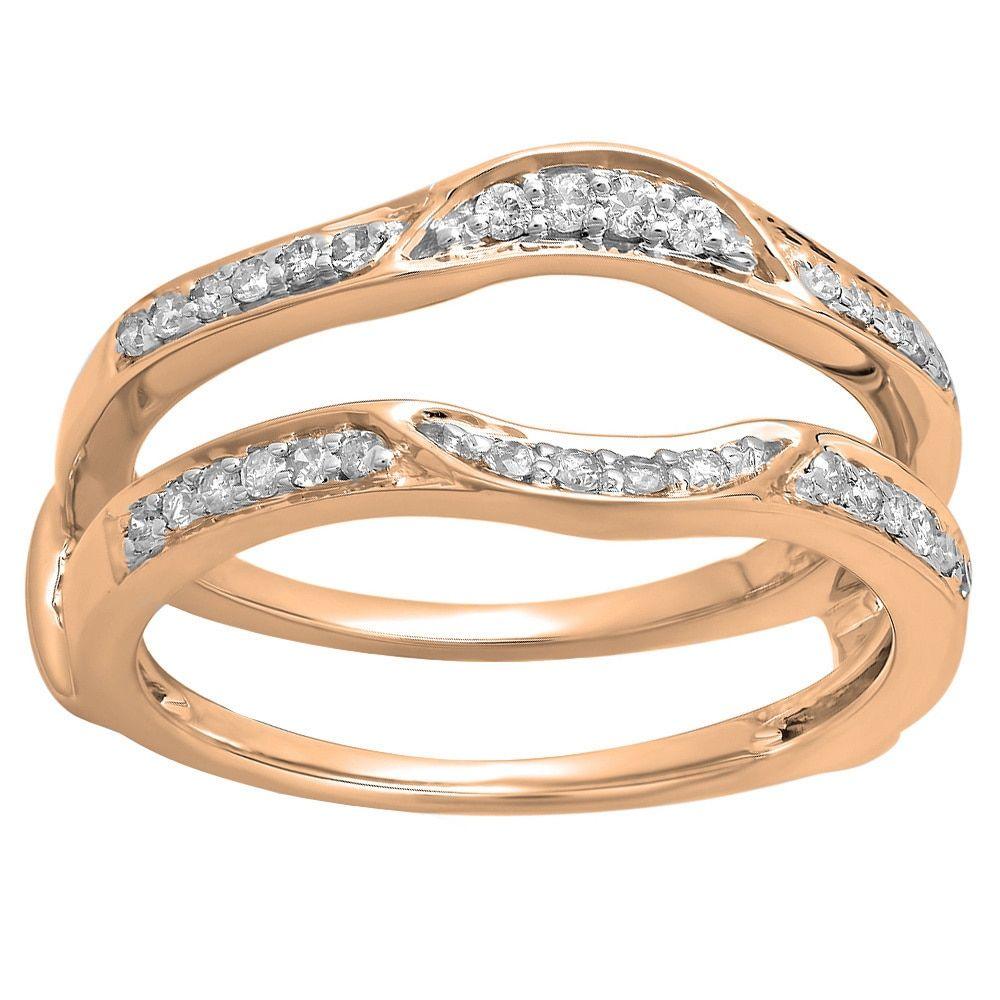 14k Gold 1/4ct TDW Round Diamond Anniversary Double Guard Ring