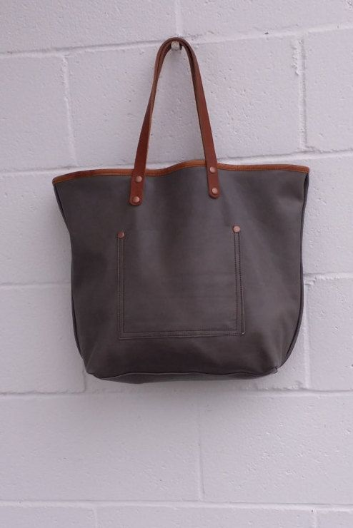 7ec79f0e52 Oversize Full Grain Graphite Gray Minelli Leather Tote Bag Purse Satchel  Handmade in USA by jewelrypieces