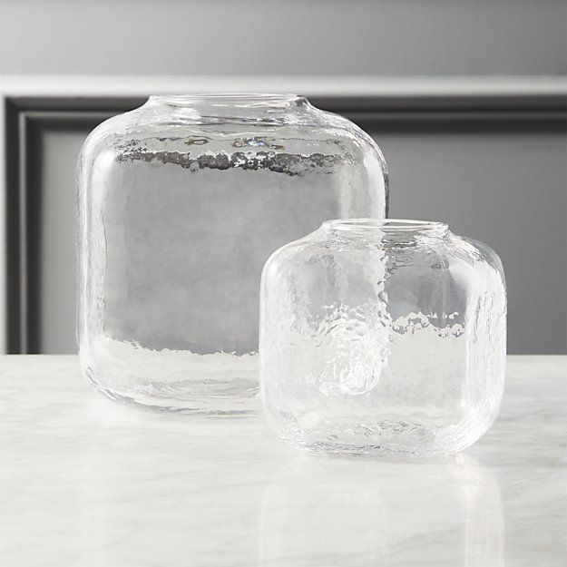 Ripley Glass Cube Vases is part of Gold Home Accessories Vase - Shop Ripley Glass Cube Vases    Minimal glass vase is a classic idea made modern   Handblown into a rounded silhouette with a vintageinspired texture   Design details we love   CB2 exclusive