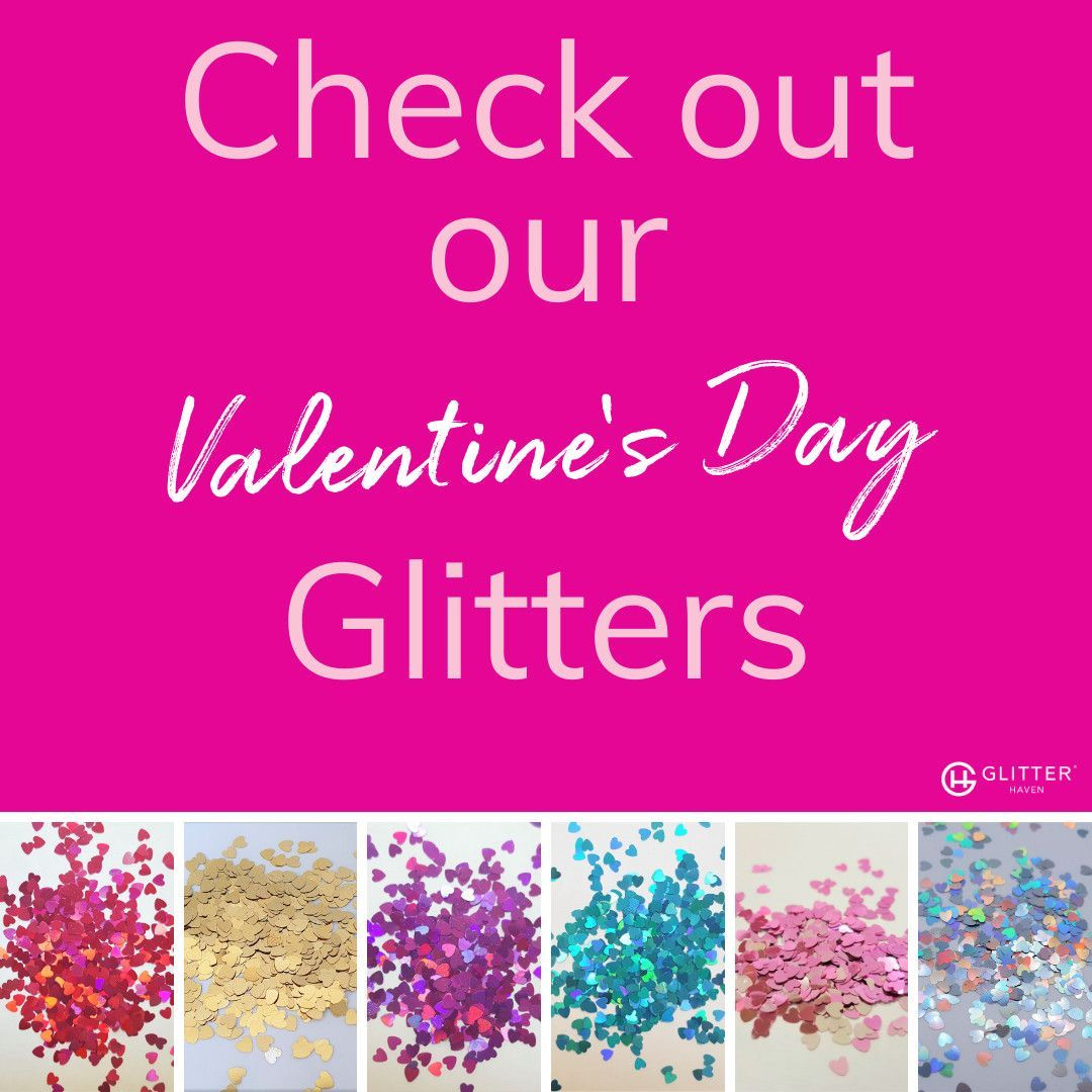 Valentine's Day-themed Glitters  The romantic hues of Valentine's day… get your valentine's glitter now and add some heart to  #Daythemed #GLITTERS #Valentines