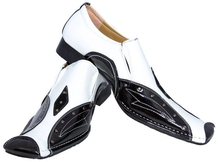 Details about GANGSTER PARTY LOAFERS SLIP ON FANCY BLACK&WHITE MEN ...