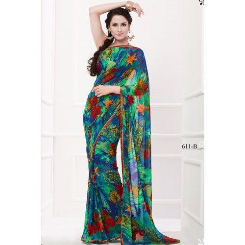 Exquisite Multi color printed saree