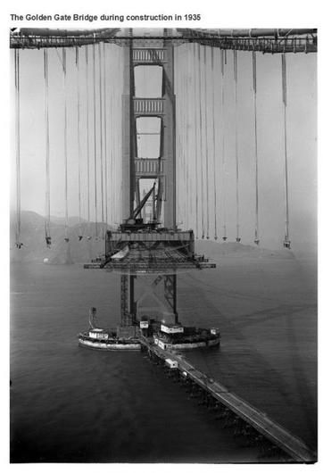 This photo is of the Golden Gate Bridge while it was still under construction in 1935. The bridge took 4 years to complete and today stands as a symbol of San Francisco and a marvel of engineering.