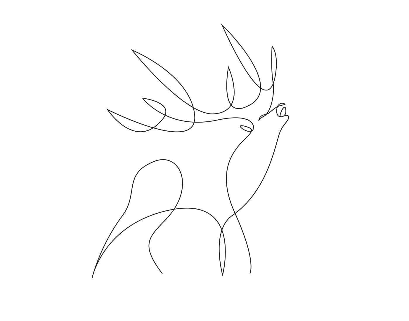 Line Drawings Of Animals Deer : Minimal elegant one line drawings illustrate the