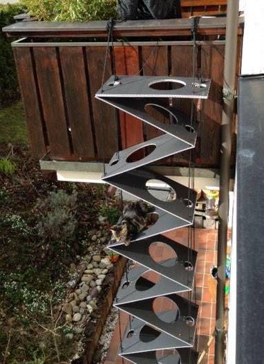 anthrazit falt katzenleiter katzentreppe cat ladders. Black Bedroom Furniture Sets. Home Design Ideas