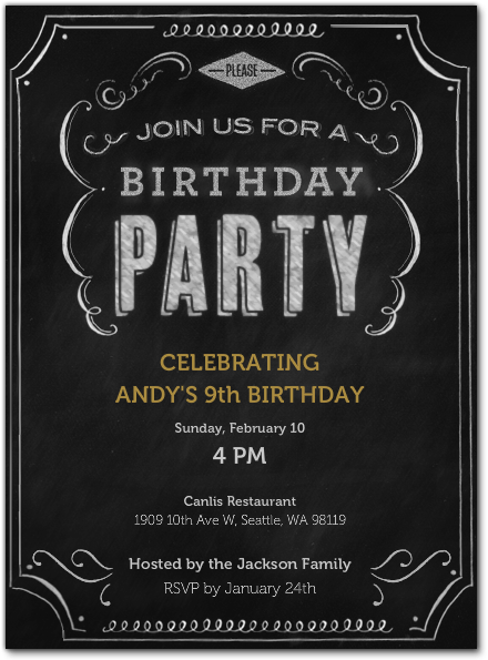 Chalkboard Inspired Digital Party Invitation