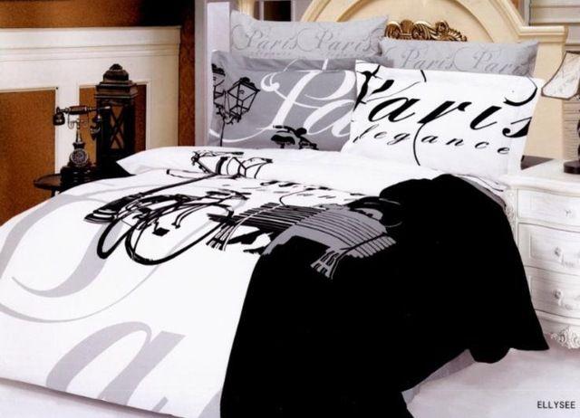 cute black and white paris bedspreads guest picks 39 i dream of paris 39 inspiration for your. Black Bedroom Furniture Sets. Home Design Ideas