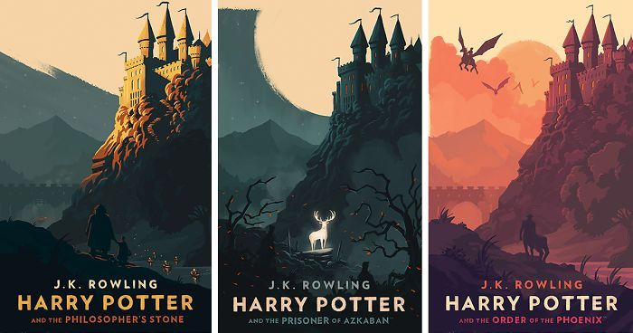 Magical Vintage Harry Potter Book Covers By Olly Moss Harry Potter Book Covers Harry Potter Poster Olly Moss