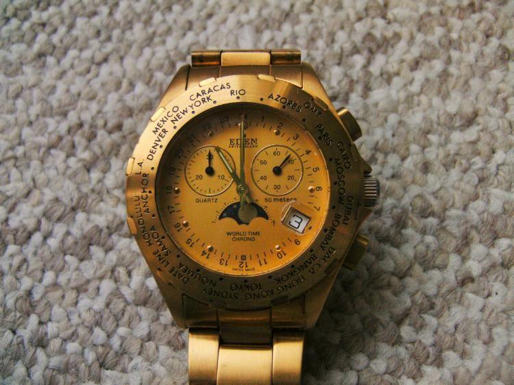 Eden Chronograph mit Mondphase Armbanduhr, Vintage uhren