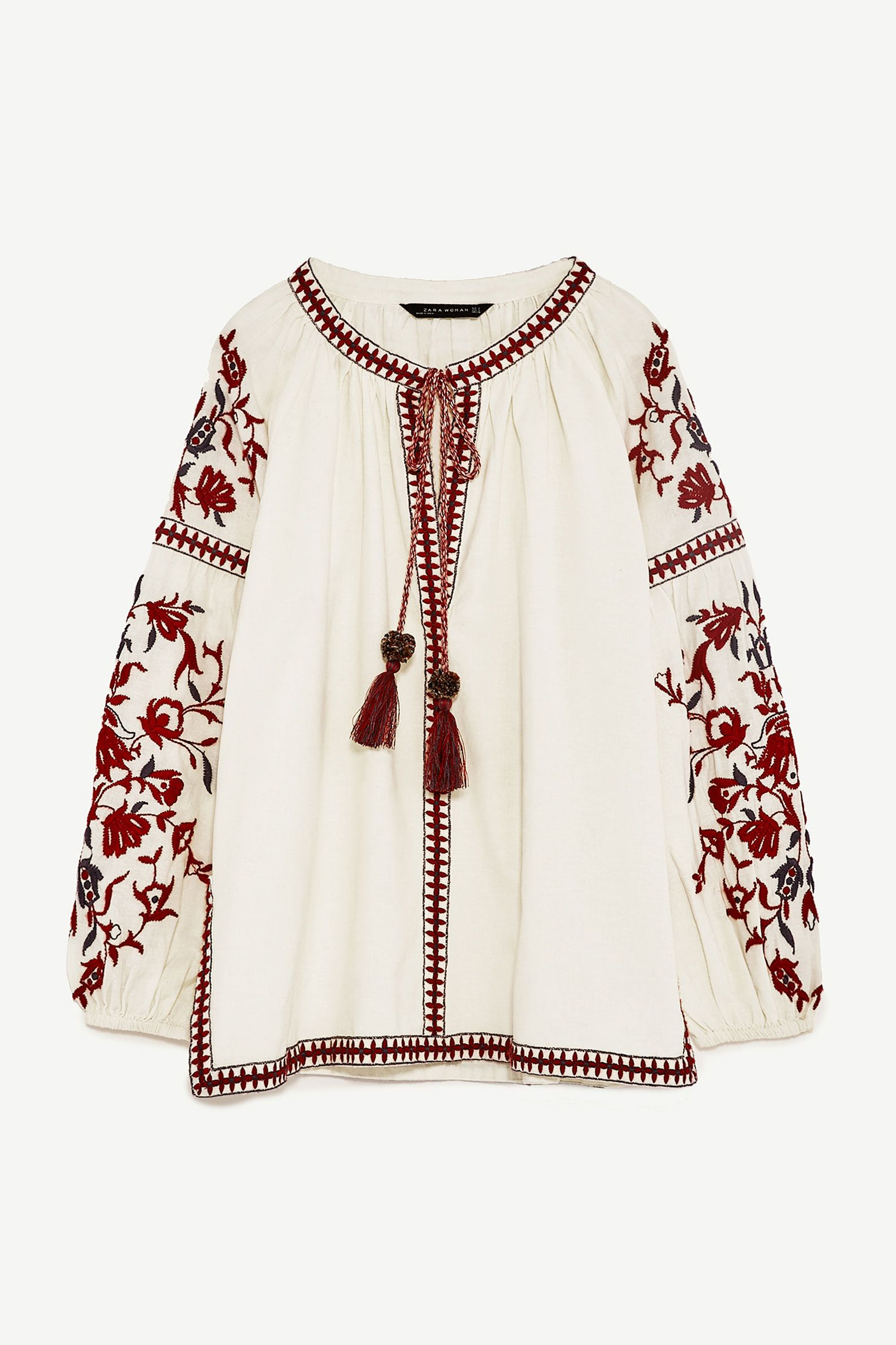 Zara Embroidered Peasant Top, £39.99