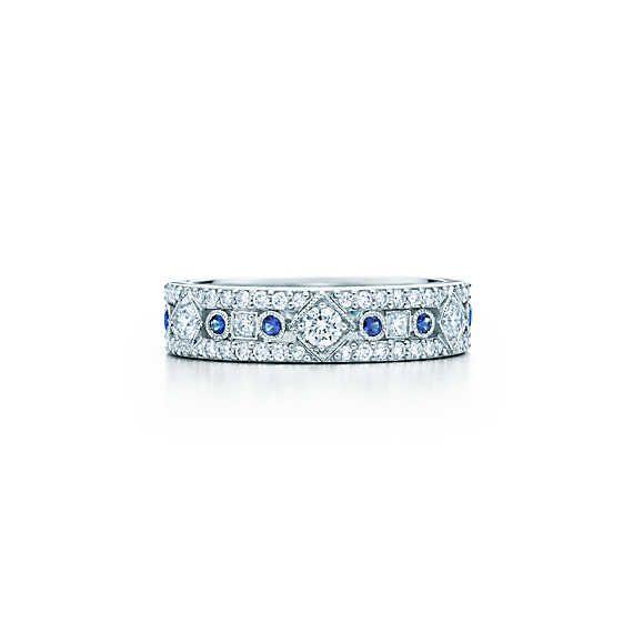 Tiffany Jazz Narrow Band Ring In Platinum With Diamonds