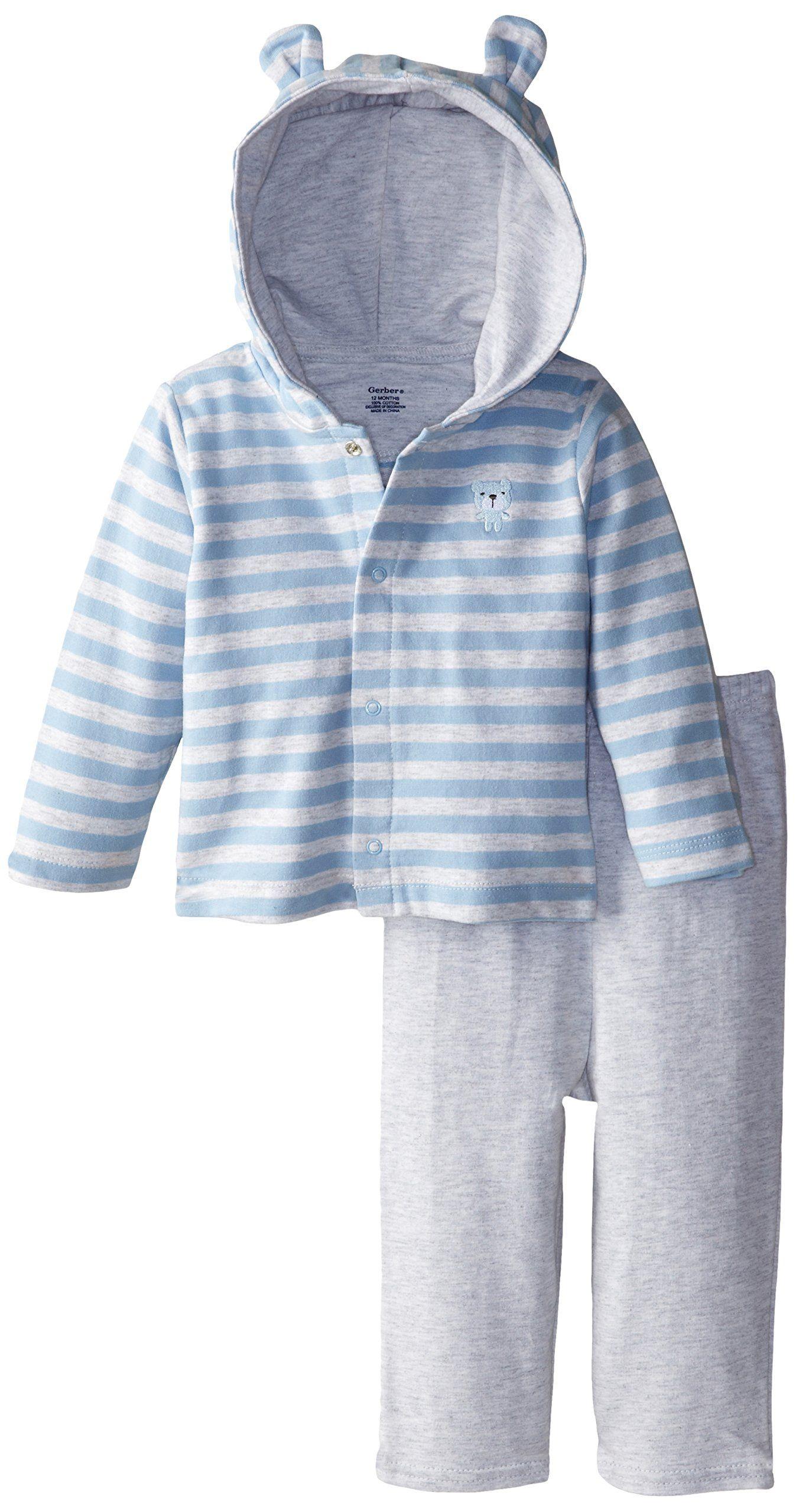 Gerber Baby Boys Newborn Hooded Cardigan and Pant Set, Bear, 12 ...