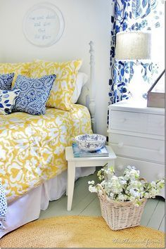 Blue And Yellow Farmhouse Bedroom Thistlewood Farm Yellow Bedroom Bedroom Design Farmhouse Style Bedrooms