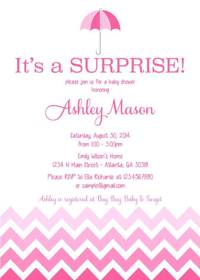 surprise baby shower invitation wording 2 | cool baby shower ideas, Baby shower invitations