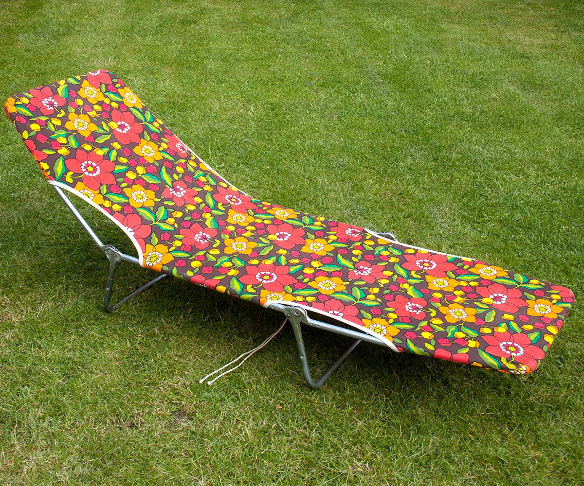 Vintage Retro 1970s Bright Orange & Red Floral Garden Sunlounger by UpStagedVintage on Etsy