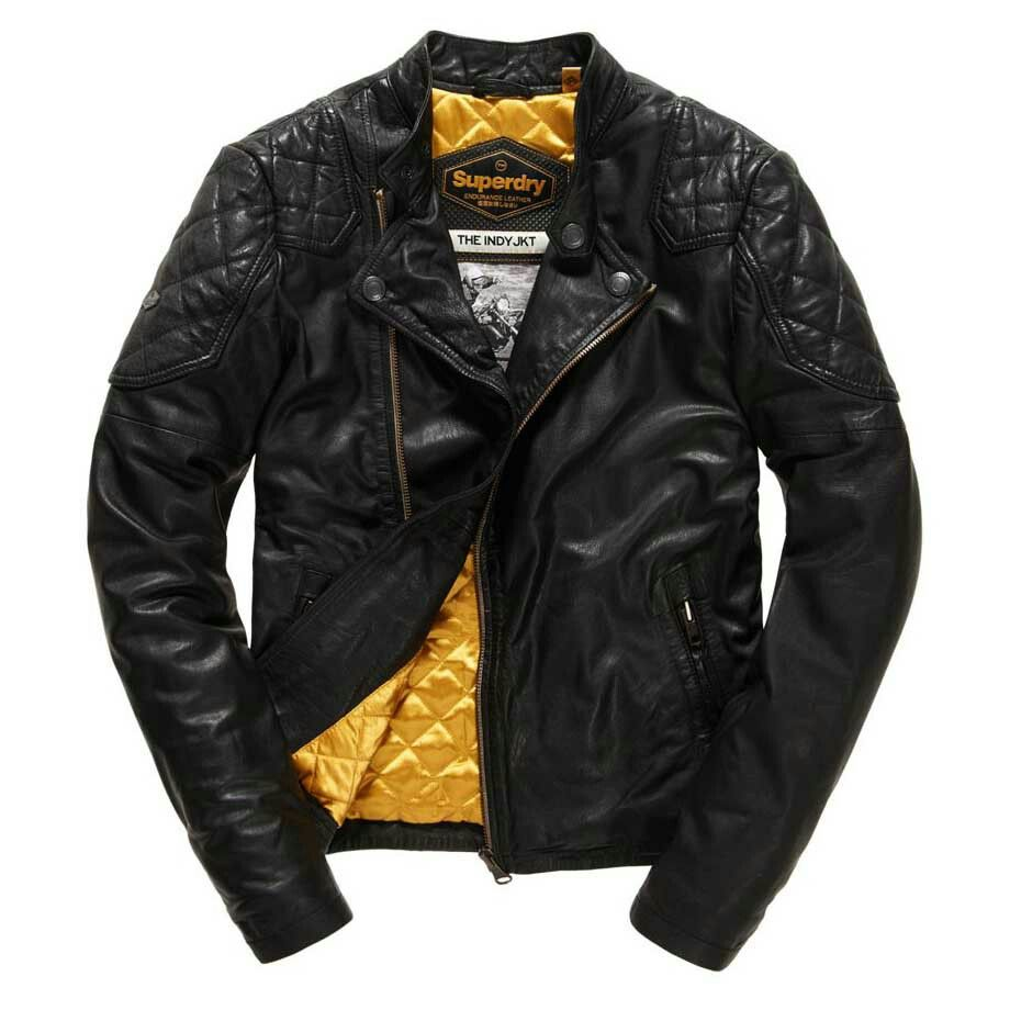 Superdry Endurance Indy Leather Jacket Fashion leather articles at 60 %  wholesale discount prices