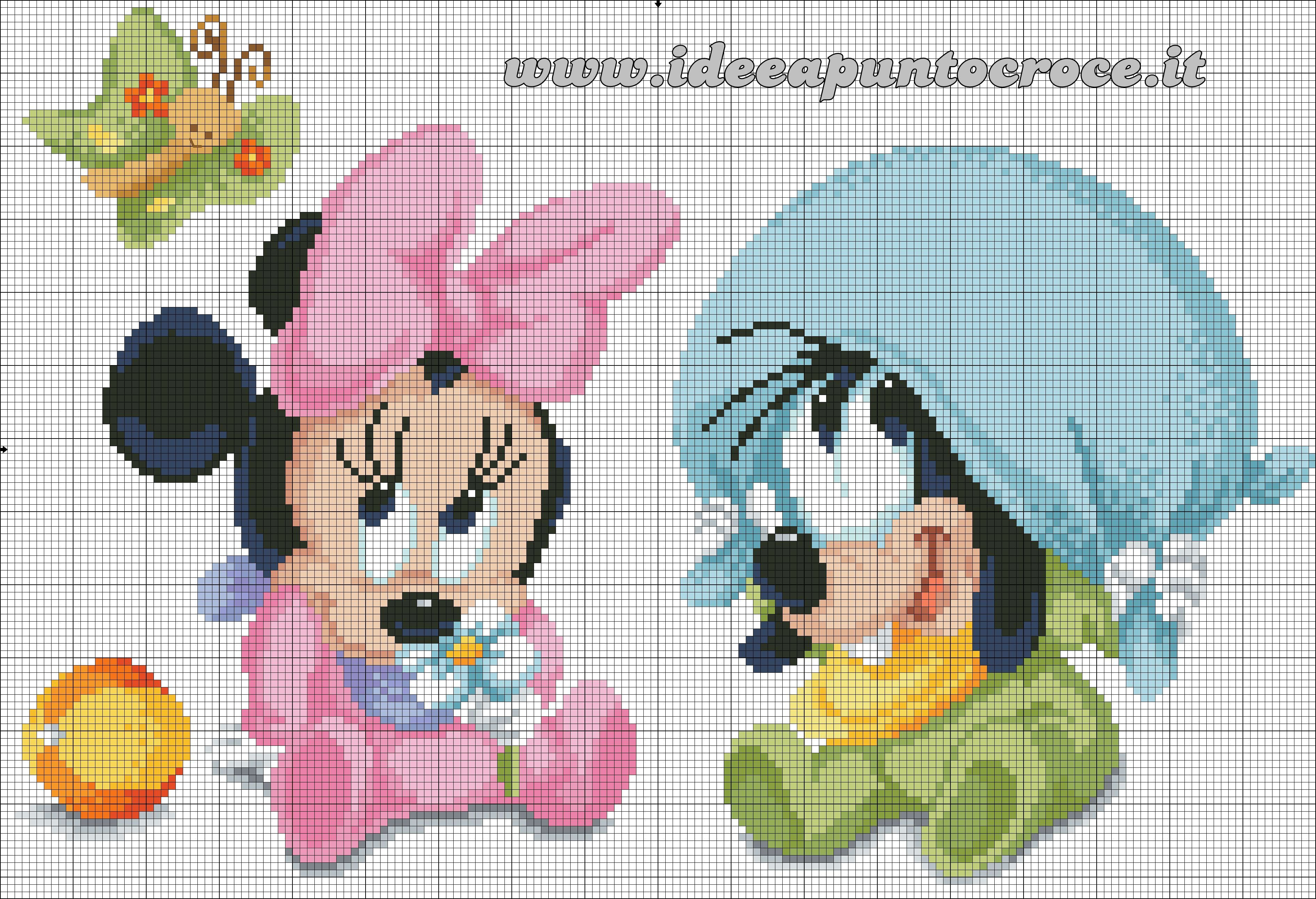 Schema Punto Croce Baby Minnie E Baby Pippo Cross Stitch Mickey