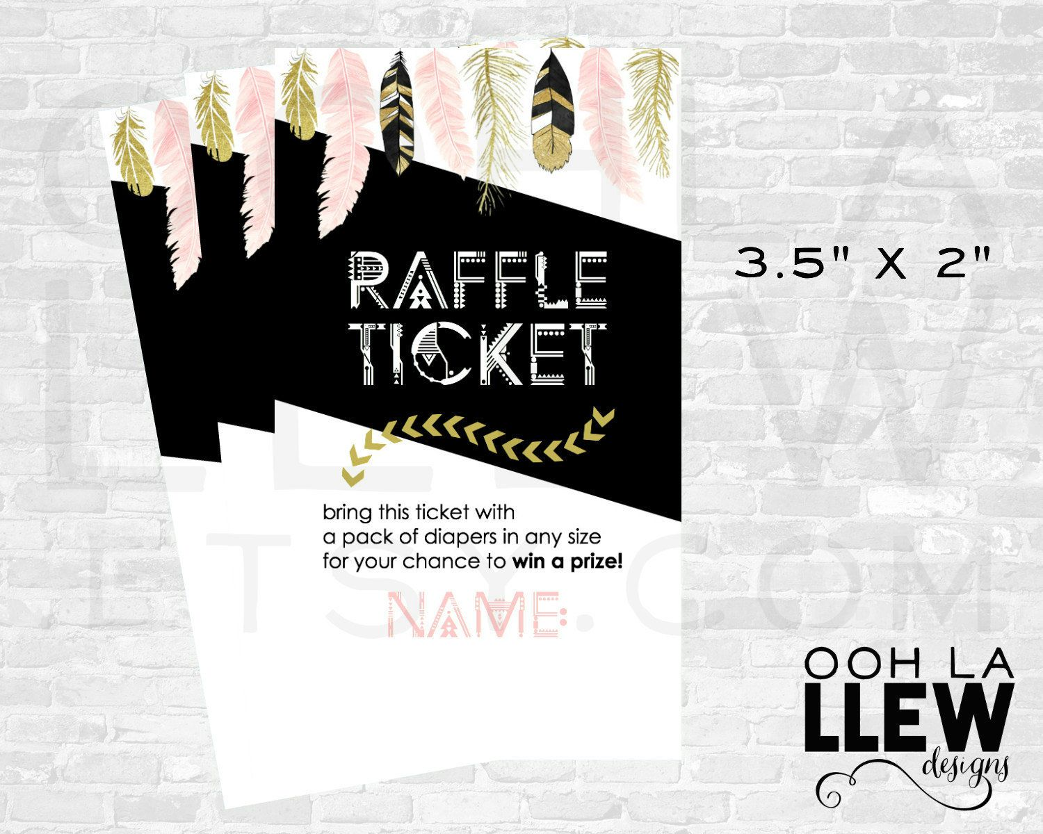 Tribal Diaper Raffle Ticket Boho Diaper Raffle Ticket Feather