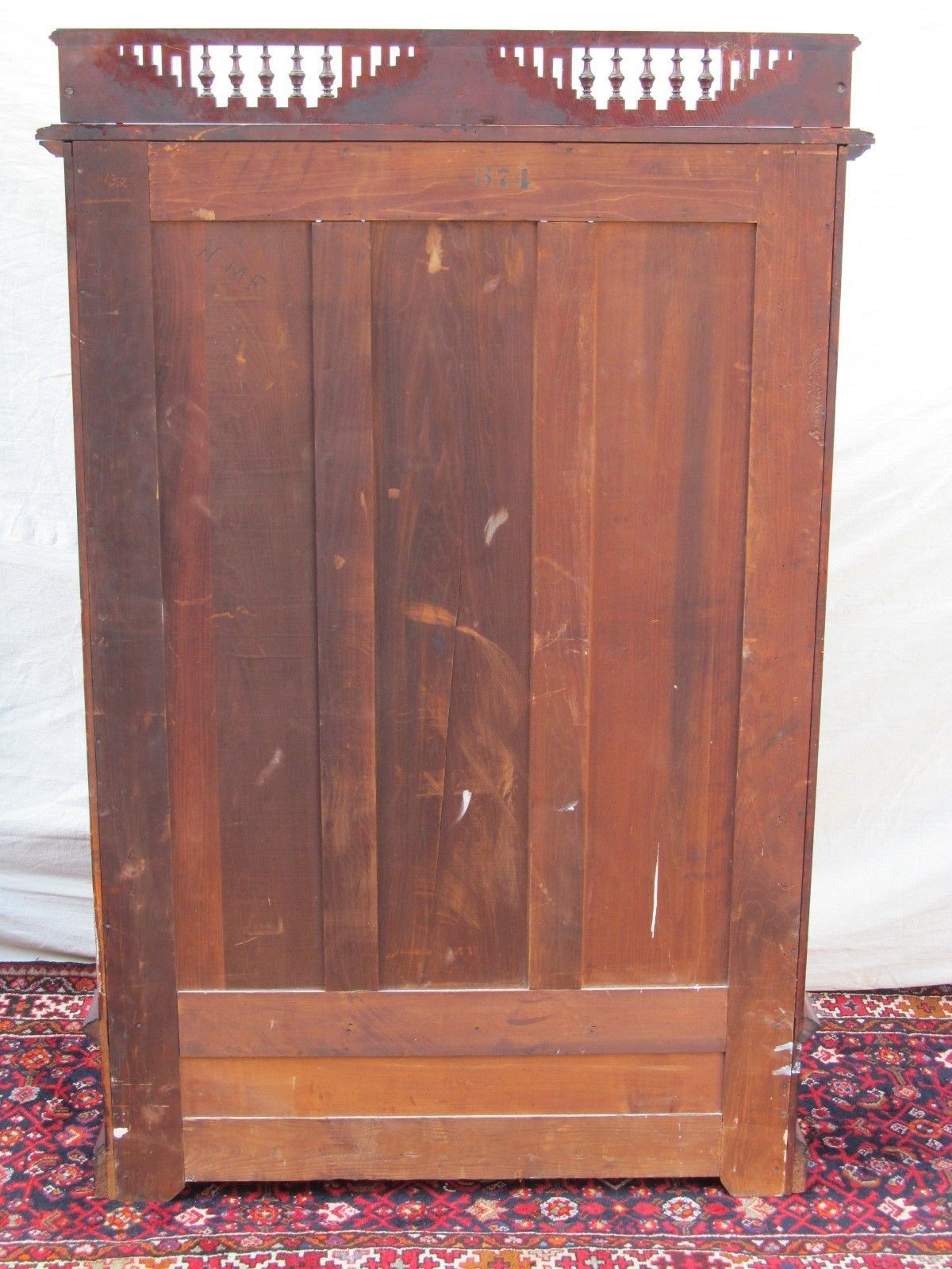 Eastlake Victorian Cherry Bookcase With Nicely Defined Gallery