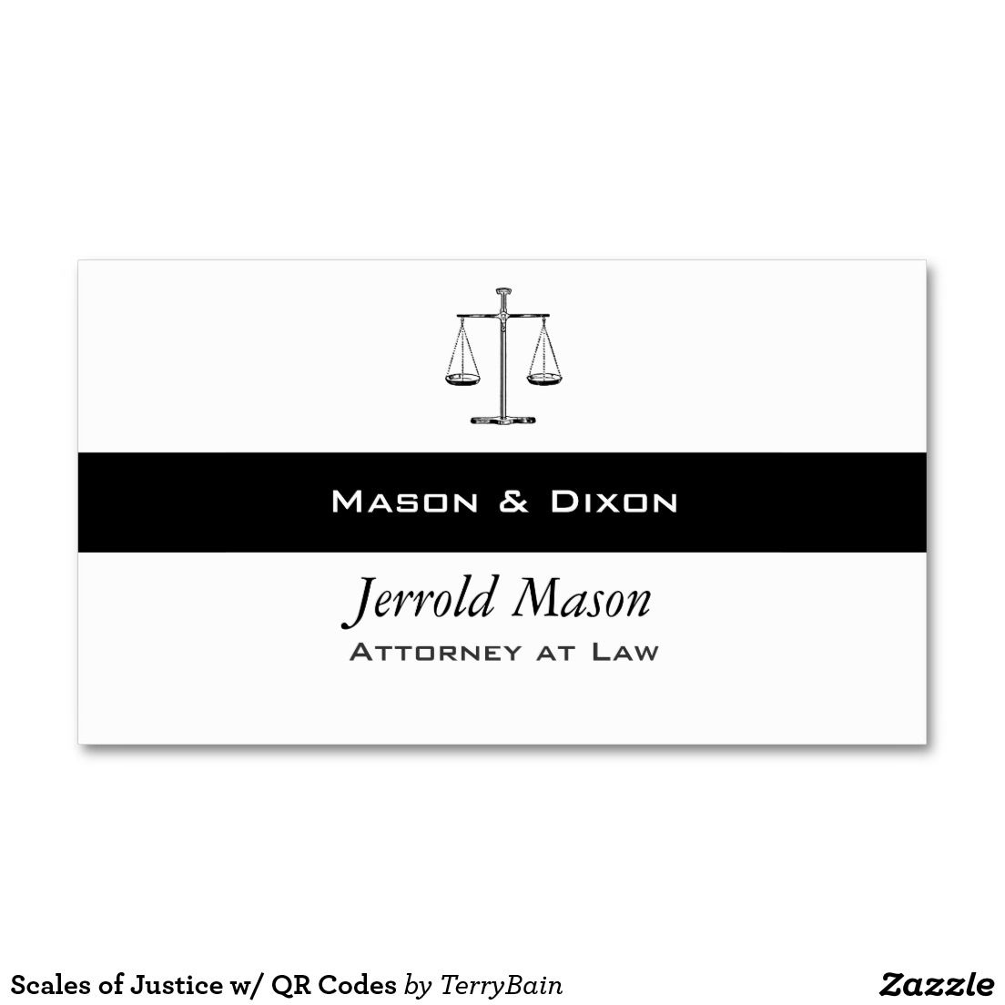 Scales of Justice w/ QR Codes Business Card | Qr codes, Business ...