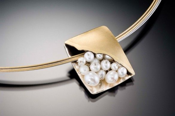 "I LOVE this little ""Pocket of Pearls""! ""Distant Planets,"" a reversible pendant by Celest Michelotti, features a cluster of cultured pearls and 18kt yellow gold on one side, and engraved 14kt white gold on the other. American Made."