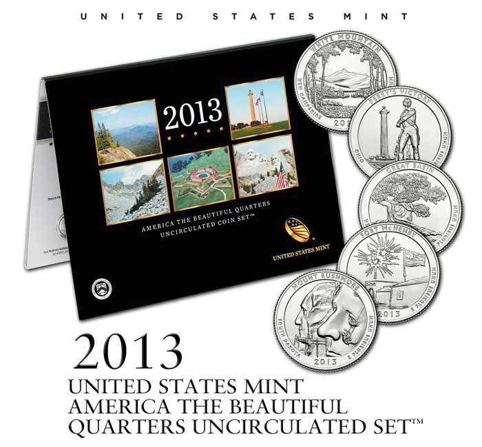 2013 America The Beautiful Quarters Uncirculated Coin Set America The Beautiful Quarters United States Mint Beautiful